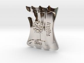 Fronti Nulla Fides shield in Rhodium Plated Brass