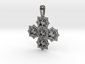 1475 medieval cross pendant in Polished Silver
