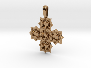 1475 medieval cross pendant in Polished Brass