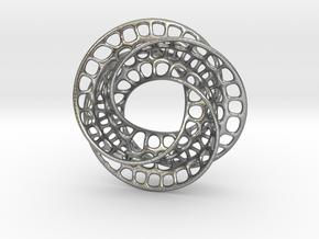 3 quarter twist Möbius strip in Natural Silver