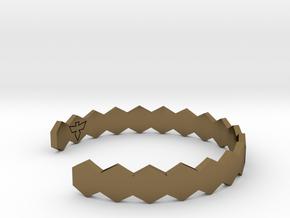 Geometric Hex Bracelet S-XL in Polished Bronze: Small