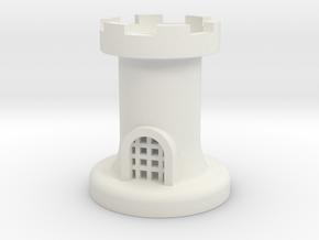 Castle for Chess in White Natural Versatile Plastic