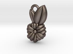 Flower Pendant in Polished Bronzed Silver Steel