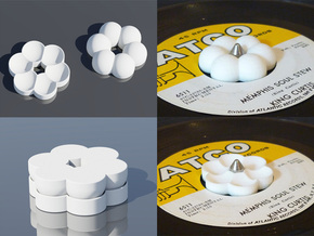 Funky 45 rpm Adapters (Two piece set) - Flower in White Natural Versatile Plastic
