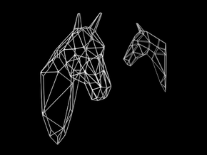Horse Wireframe Head in White Strong & Flexible