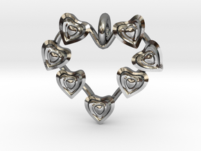 Valentine's hearties Pendant in Polished Silver