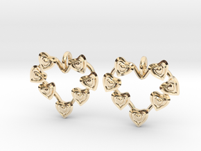 Valentine's hearties earrings in 14k Gold Plated Brass