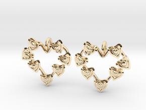 Valentine's hearties earrings in 14k Gold Plated Brass