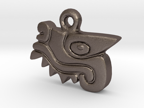 Aztec Crocodile Pendant in Polished Bronzed Silver Steel