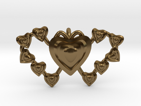 Valentine's 2 hearts Pendant in Polished Bronze
