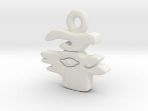 Aztec Deer Pendant in White Natural Versatile Plastic