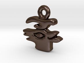 Aztec Deer Pendant in Polished Bronze Steel