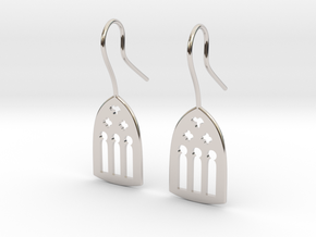 Cathedral Earrings in Rhodium Plated Brass: Medium