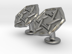 Magen David Cufflinks in Natural Silver
