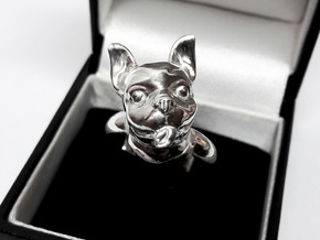 French Bulldog  ring in Fine Detail Polished Silver
