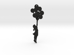 Balloon Girl Pendant in Black Natural Versatile Plastic