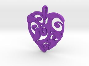 Curly Heart Pendant in Purple Processed Versatile Plastic