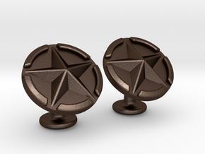 US Army Star Cufflinks in Matte Bronze Steel