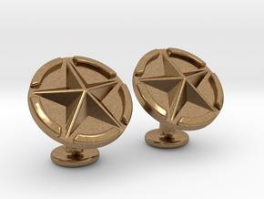 US Army Star Cufflinks in Natural Brass