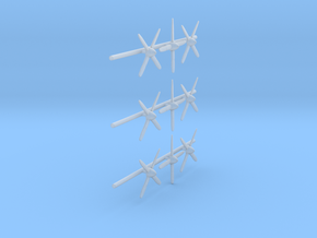 144-H0132: Set Of 9 Mustang Propellers 1:144 in Smooth Fine Detail Plastic