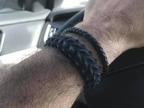Hard Shred Cuff bracelet   Narrow  in Black Natural Versatile Plastic: Small