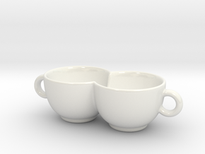 Coffee Cup for Lovers in Gloss White Porcelain