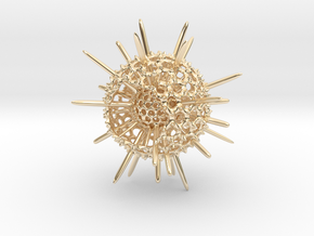 Spiky Spumellaria Sculpture - Science Gift in 14K Yellow Gold: Large