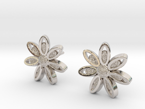 Spring Blossom 5 - Earrings in Rhodium Plated Brass