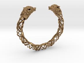 Viking wolf head bracelet size M in Natural Brass