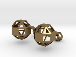 Rhombicuboctahedron cufflinks in Polished Bronze