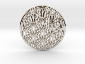 Flower Of Life - Medium in Rhodium Plated Brass