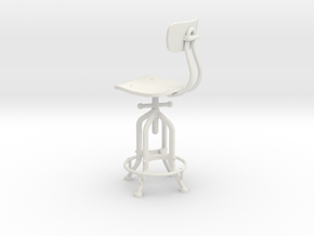 1:12 Industry Stool in White Natural Versatile Plastic