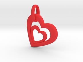 Heart in Heart Pendant 2 in Red Processed Versatile Plastic