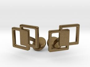 Interlocking Cufflinks in Natural Bronze