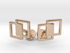 Interlocking Cufflinks in 14k Rose Gold Plated Brass