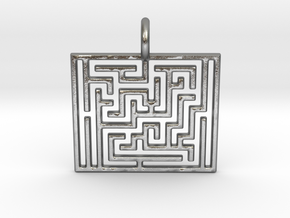 Maze Pendant in Natural Silver
