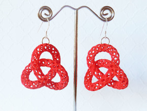 Trefoil -- Plastic 3D printed earrings in Red Processed Versatile Plastic