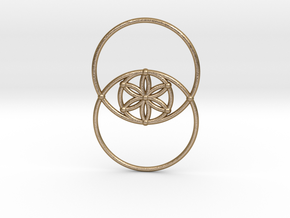 Vesica Piscis - Flower of life in Polished Gold Steel