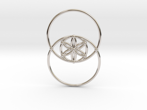 Vesica Piscis - Flower of life in Rhodium Plated Brass