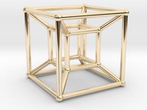 Tesseract - 4d Hypercube - E4 in 14k Gold Plated Brass