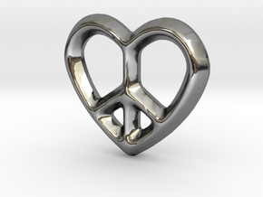 Peace Love Charm - 11mm in Fine Detail Polished Silver