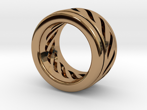 Simple - Fidget (Spin) Ring in Polished Brass (Interlocking Parts): 3 / 44