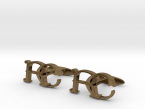 Monogram cufflinks 'RC' in Polished Bronze