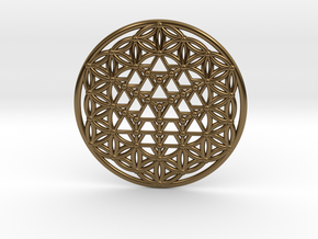 64 Tetrahedron Grid - Flower of life in Polished Bronze