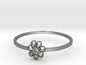 Blooming Flower (size 4-13) in Natural Silver: 4 / 46.5
