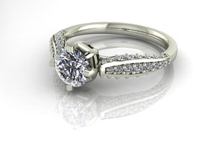 Classic Diamond ring SEMI MOUNT  in Fine Detail Polished Silver: 6.25 / 52.125