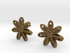 Spring Blossom 5 - Earrings in Polished Bronze