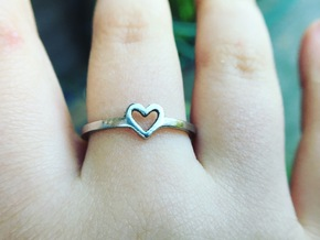 Heart Ring - Ella edition in Polished Bronzed Silver Steel: 5.75 / 50.875