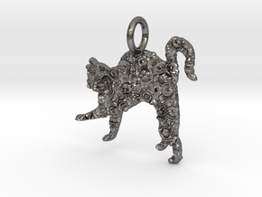 Cat Pendant in Polished Nickel Steel