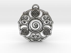 Ancient Wisdom Pendant in Natural Silver